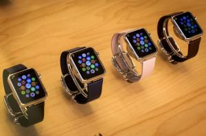 Apple Watches are seen on display at the Apple store on 5th Avenue in the Manhattan borough of New York City