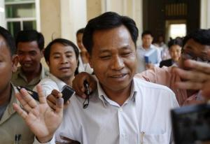 Former Bavet governor Bandith walks after appearing at the Court of Appeal in central Phnom Penh