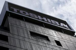 Logo of Toshiba Corp is pictured at its headquarters in Tokyo
