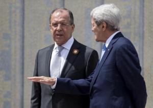 U.S. Secretary of State John Kerry and Russian Foreign Minister Sergey Lavrov speak at the Zakovkzalny War Memorial in Sochi