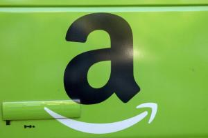 The Amazon.com Inc. logo is seen on the side of a delivery truck in Brooklyn