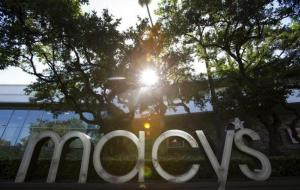 The sign of a Macy's department store is pictured in Pasadena