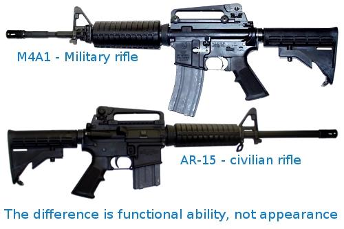 AR-15 vs M4A1 rifle 02b